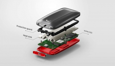 Samsung X5 1TB Portable External SSD GrayRed